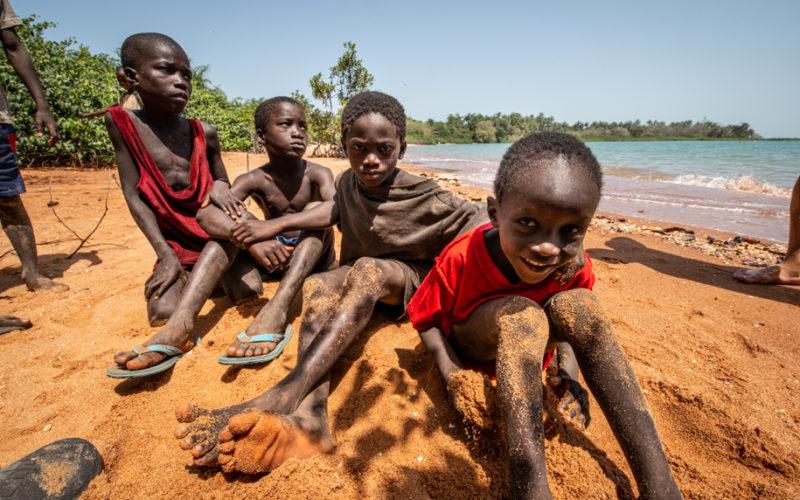 Local African boys on the beach