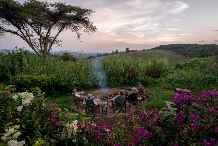 Sunset and bonfire at Rothia Valley, Tanzania.