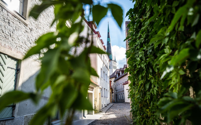 Narrow street of Tallinn, Estonia.
