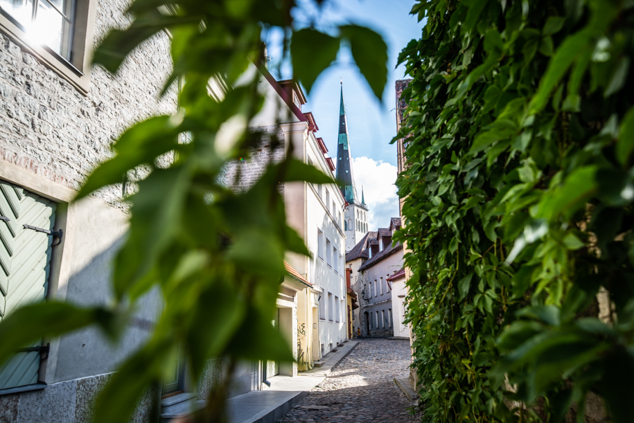 Narrow street of Tallinn, Estonia.