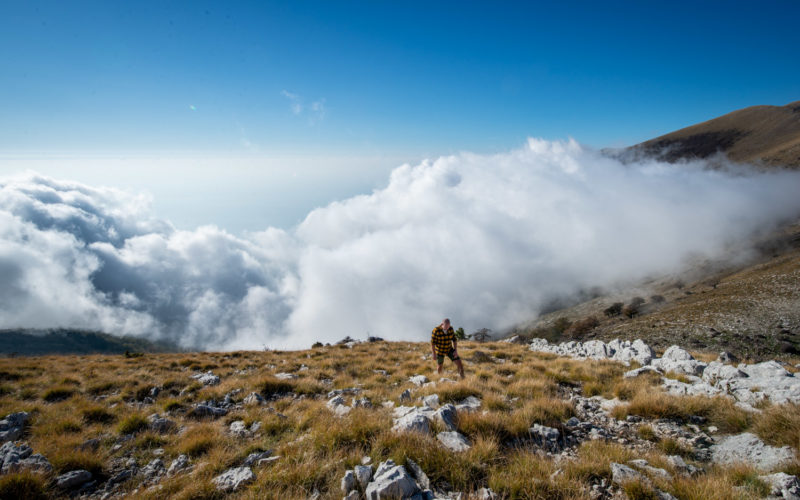 Walking above the clouds during our Dukat hike in Albania
