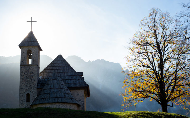 Small church in the mountain village Theth, Albania